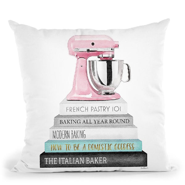 Baking Books In Grey And Teal Pink Mixer Throw Pillow By Amanda Greenwood