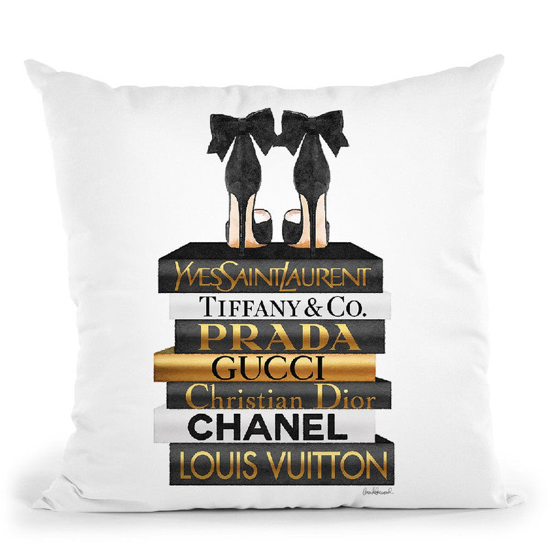 Gold & Black Book Stack With Black Heel Throw Pillow By Amanda Greenwood