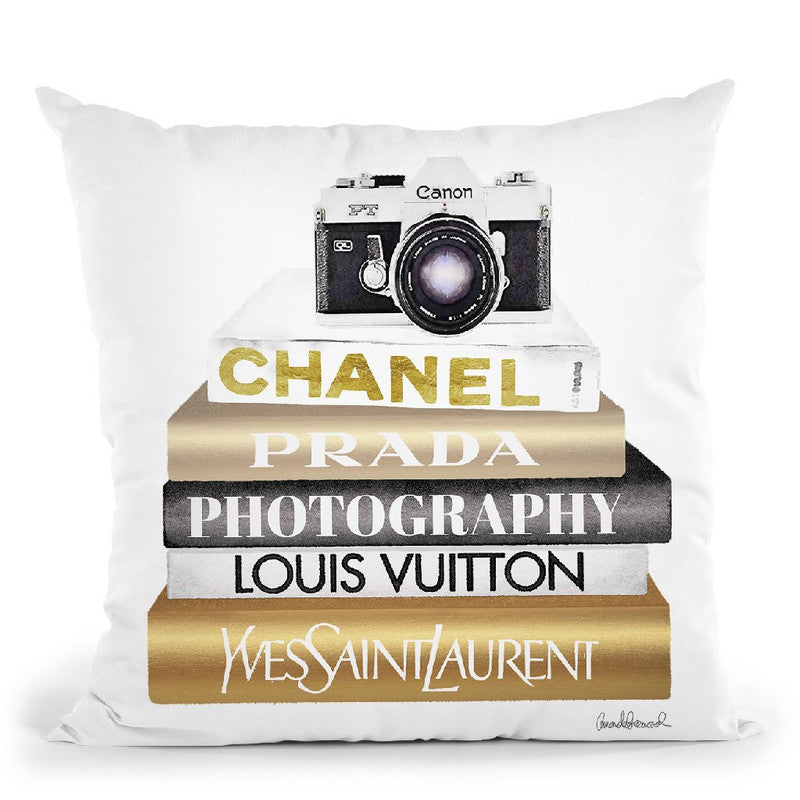 Gold Bookstack With Camera Throw Pillow By Amanda Greenwood