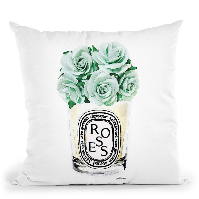 Candle With Mint Roses Throw Pillow By Amanda Greenwood