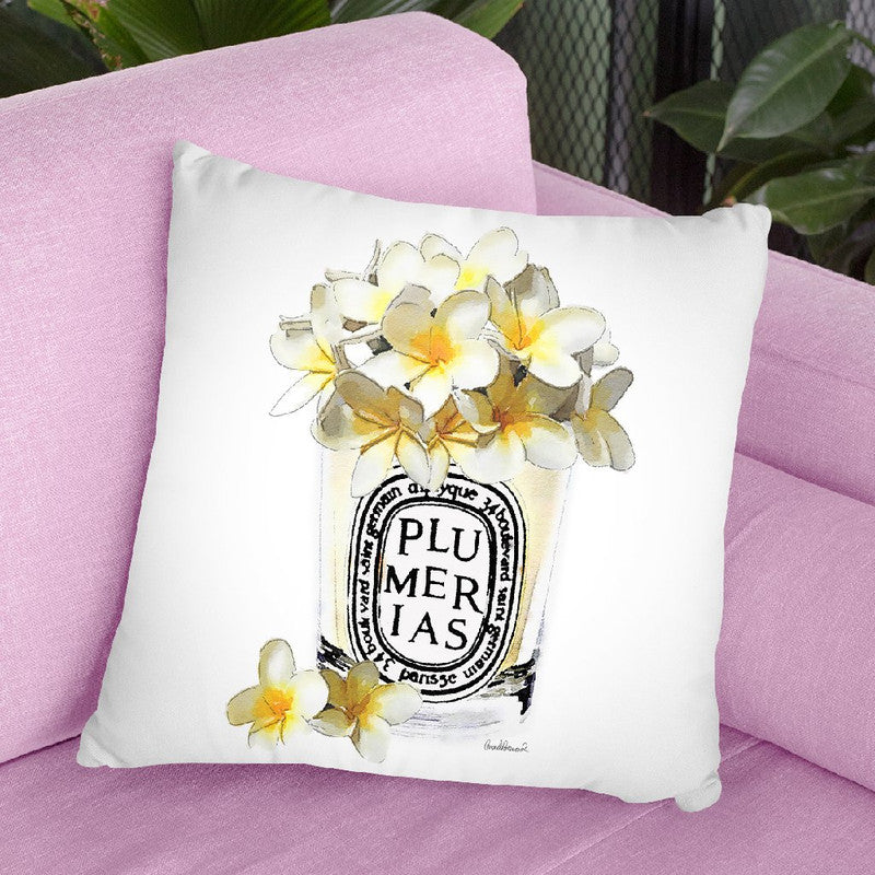 Candle With Yellow Plumerias Throw Pillow By Amanda Greenwood