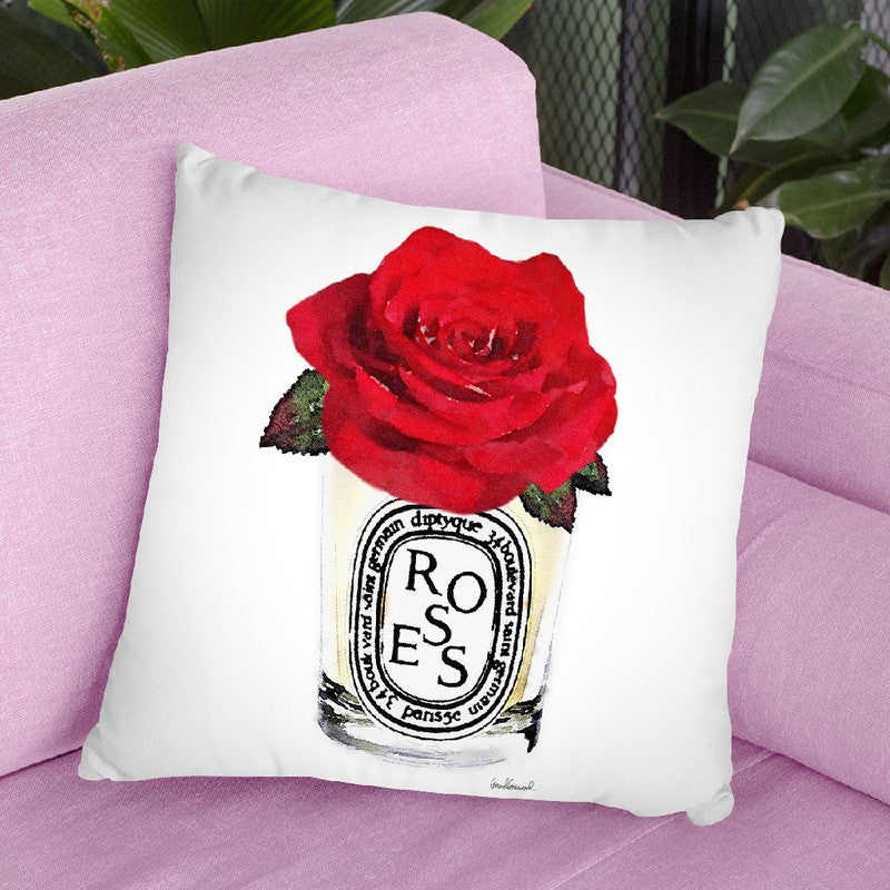 Candle With Red Rose Throw Pillow By Amanda Greenwood