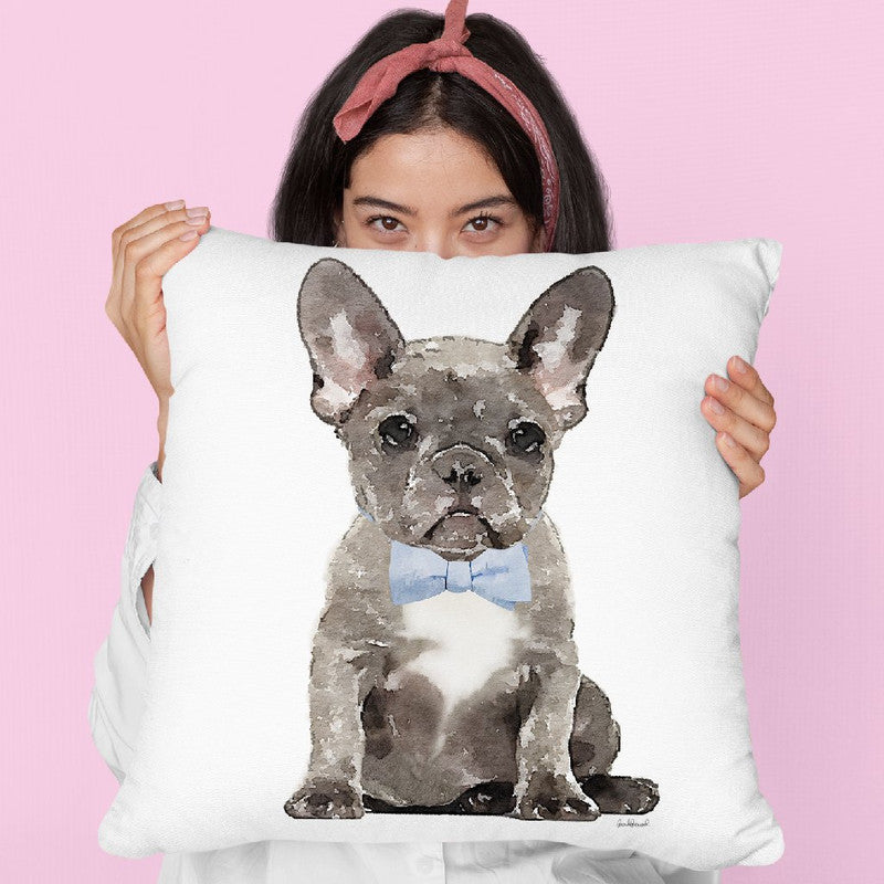 Grey French Bulldog With Blue Bow Tie Throw Pillow By Amanda Greenwood
