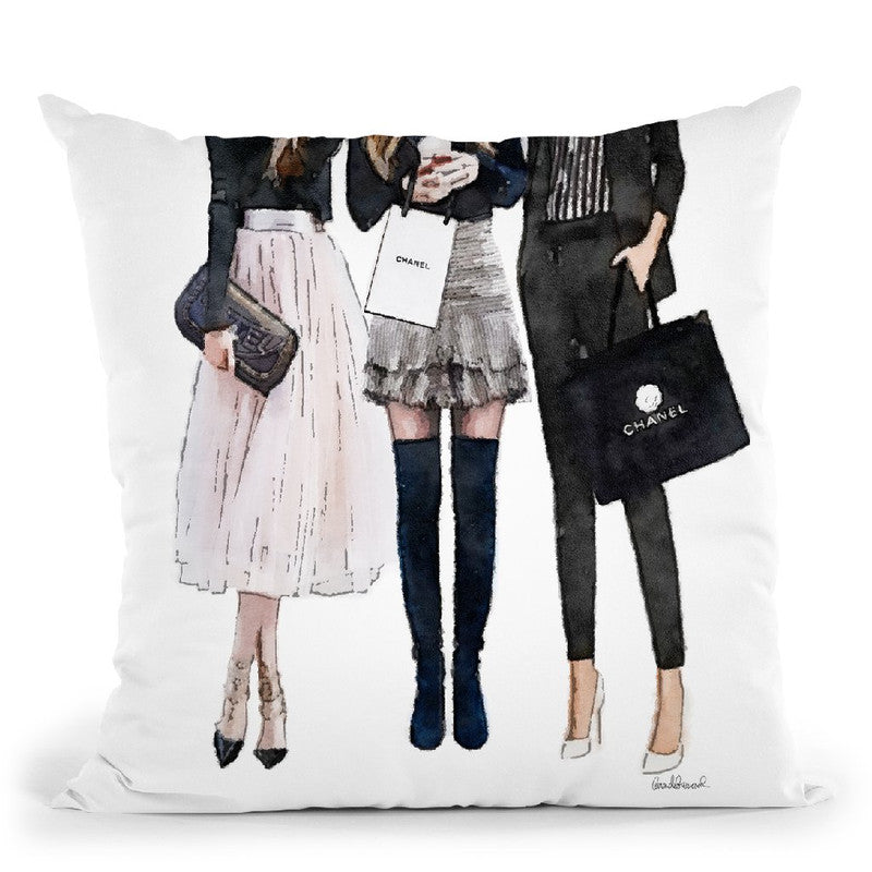 Three Best Friends, Black Pink Throw Pillow By Amanda Greenwood