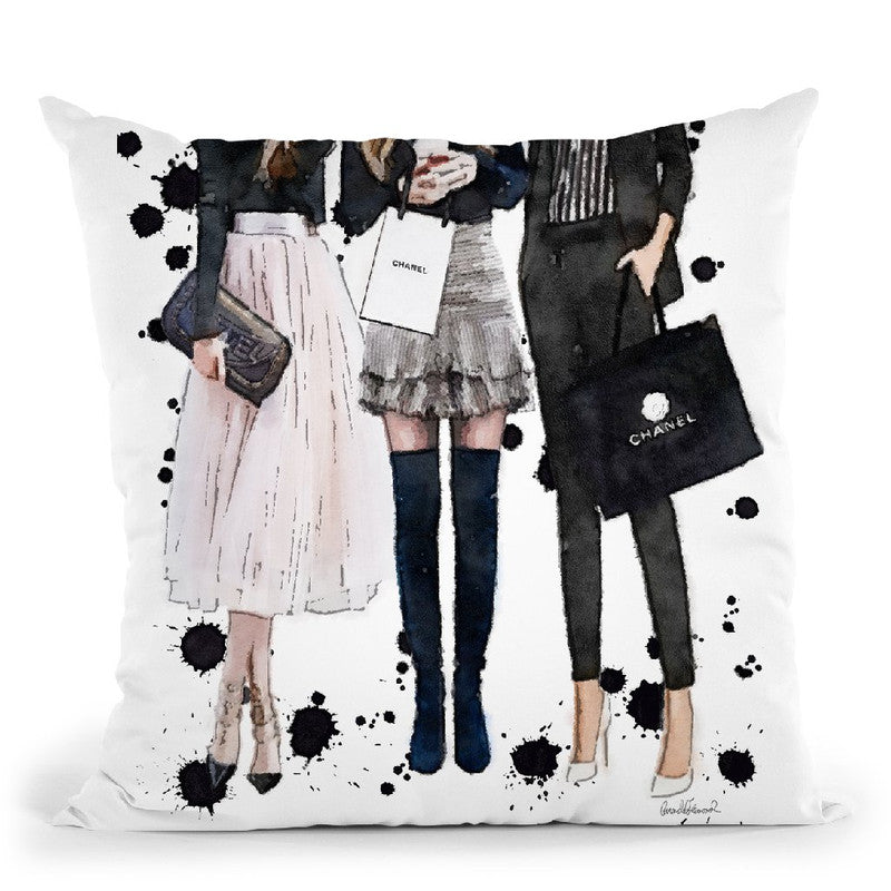 Three Best Friends, Black Pink With Ink Throw Pillow By Amanda Greenwood