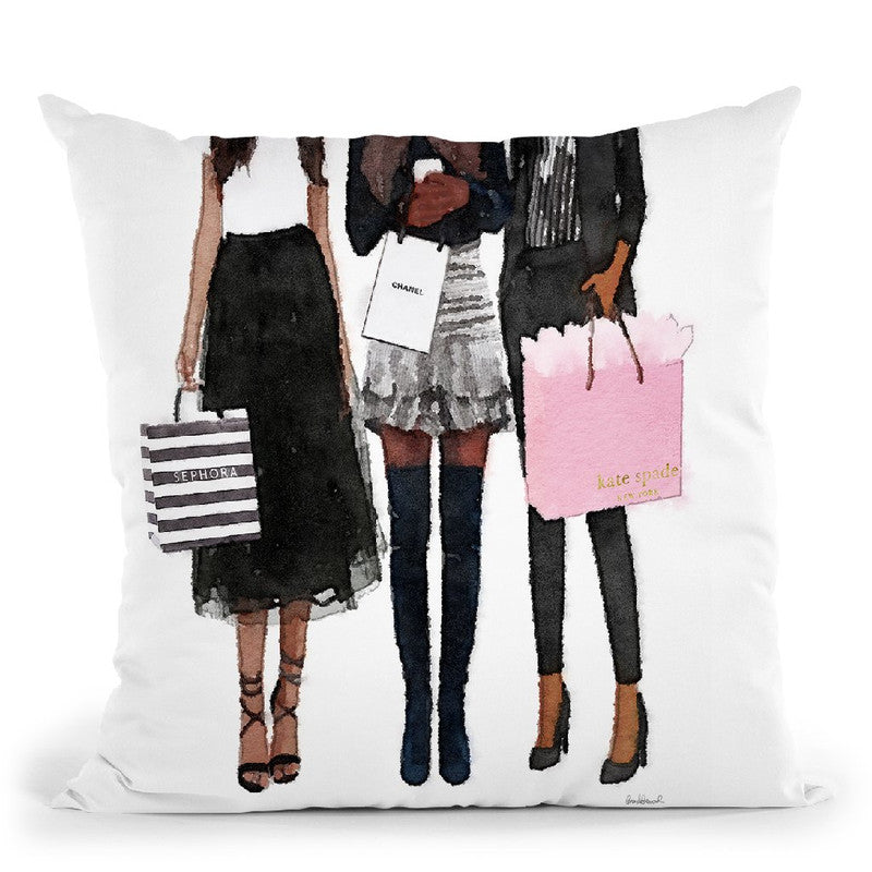 Three Best Friends African American, Black And Blush Throw Pillow By Amanda Greenwood
