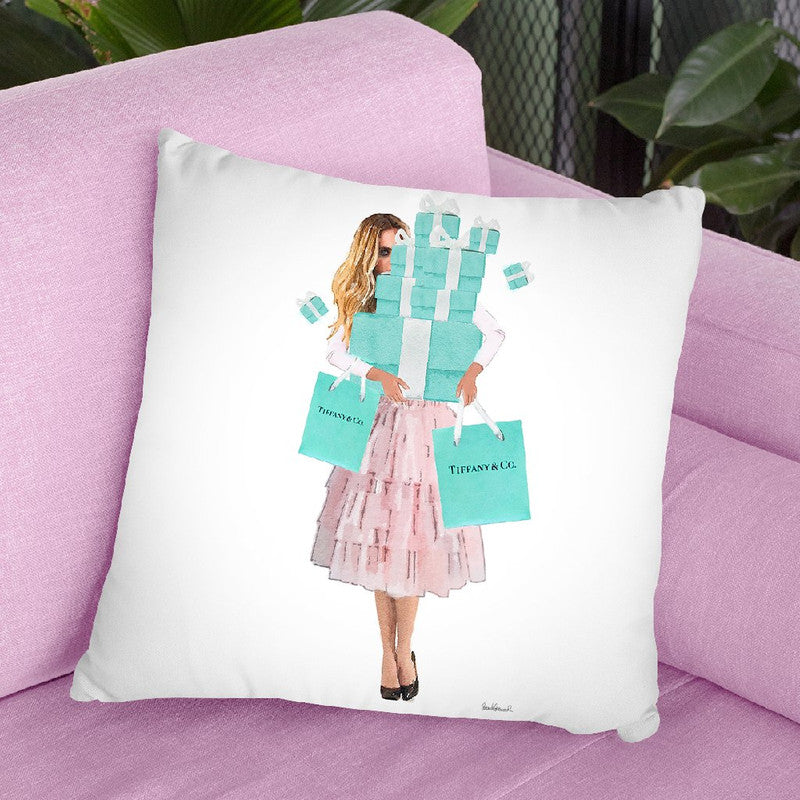 Girl Overloaded, Teal And Blush Throw Pillow By Amanda Greenwood