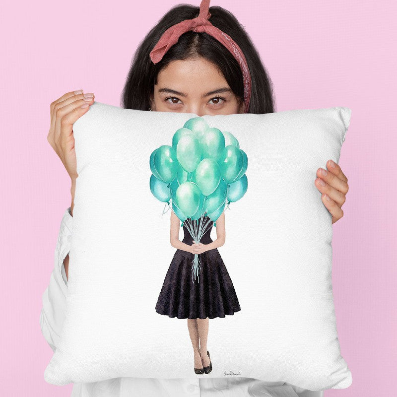Audrey Holding Balloons, Teal Throw Pillow By Amanda Greenwood