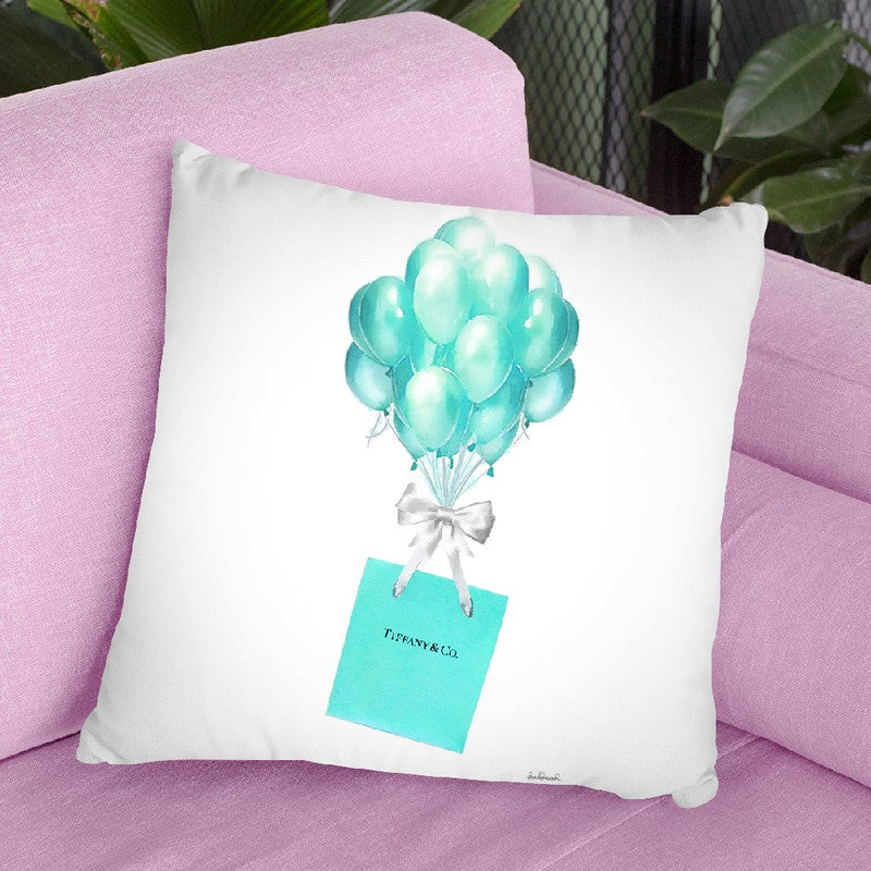 Balloons And Gift Bags, TealÊ Throw Pillow By Amanda Greenwood