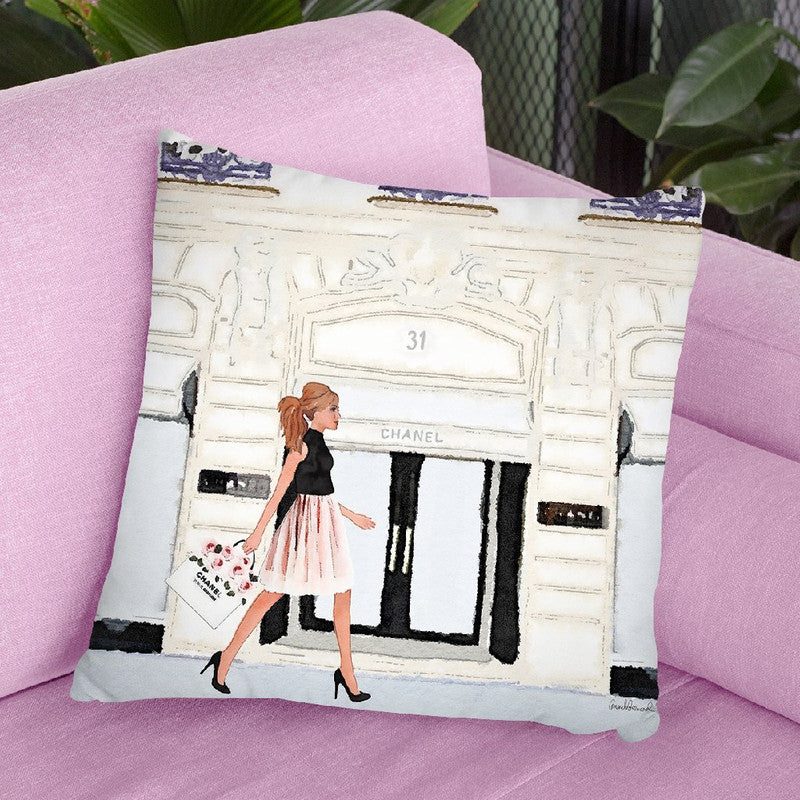 Shop Front Rue, Paris Withopper Throw Pillow By Amanda Greenwood