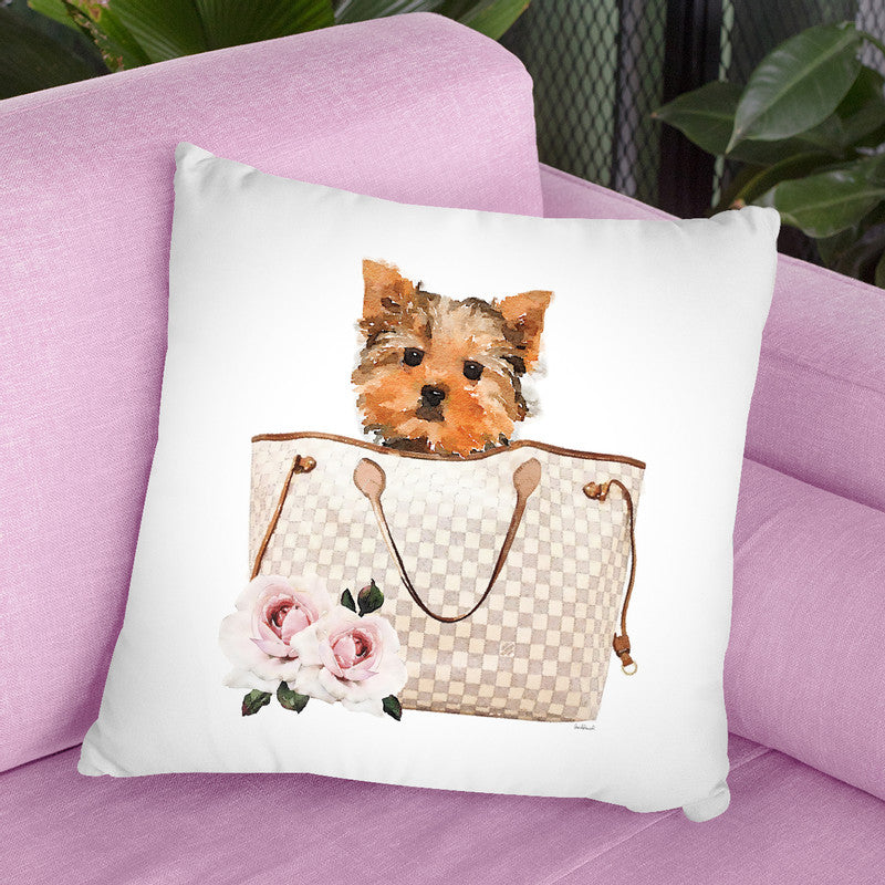 Grey/Tan Shoulder Bag With Yorkie Throw Pillow By Amanda Greenwood