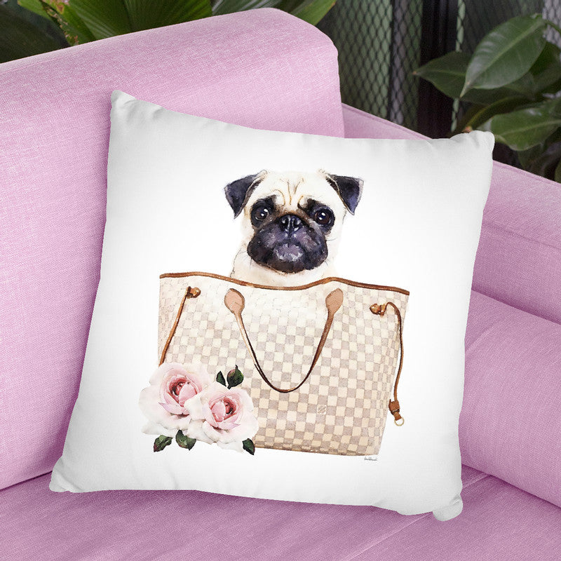 Grey/Tan Shoulder Bag With Cream Pug Throw Pillow By Amanda Greenwood