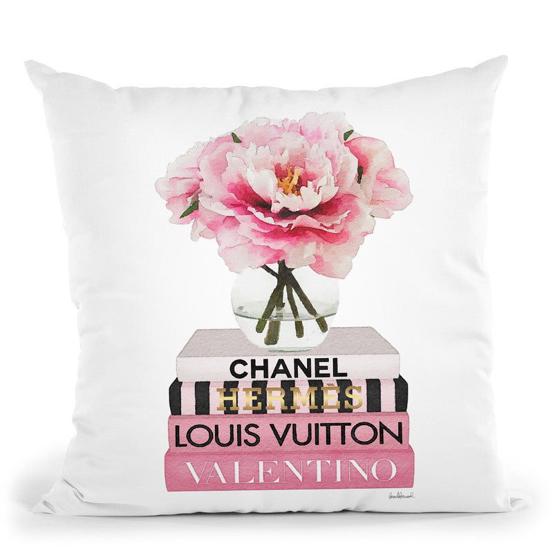 Short Pink Book Stack With Stripe, Peony In Round Vase Throw Pillow By Amanda Greenwood