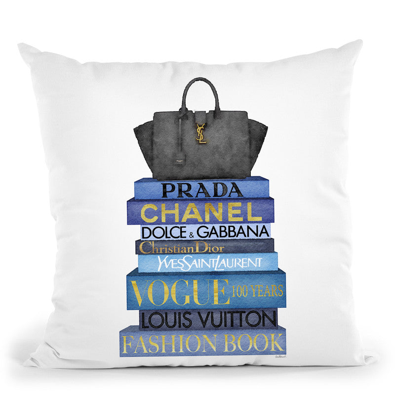 Tall Blue Books, Black Bag Throw Pillow By Amanda Greenwood