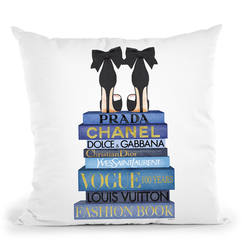 Tall Blue Books, Black Shoes Throw Pillow By Amanda Greenwood