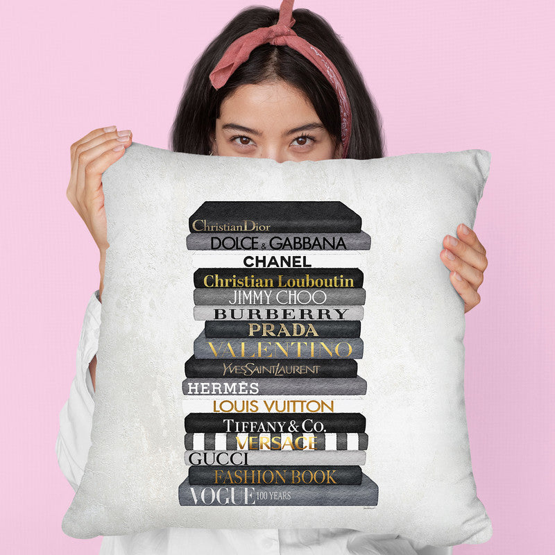 High Fashion Book Stack Black & White, Gold Font Throw Pillow By Amanda Greenwood