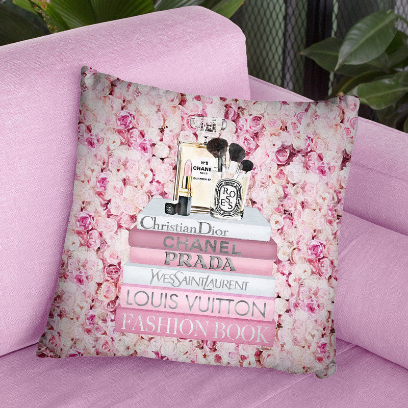 Blush Fashion Books On Pink Flower Wall Throw Pillow By Amanda Greenwood