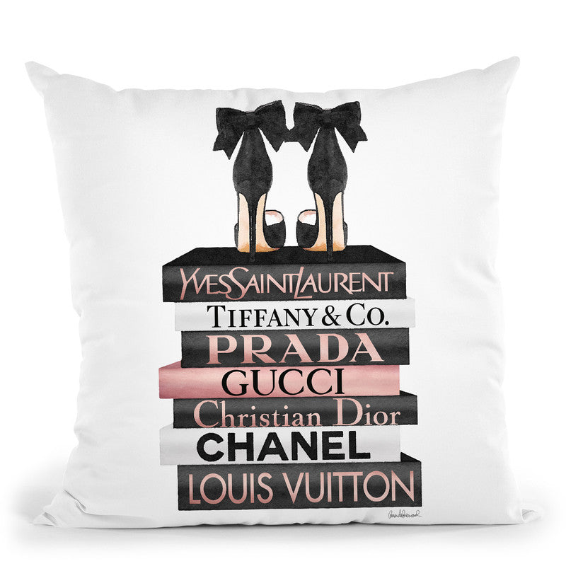Rose Gold & Black Book Stack With Black Heel Throw Pillow By Amanda Greenwood