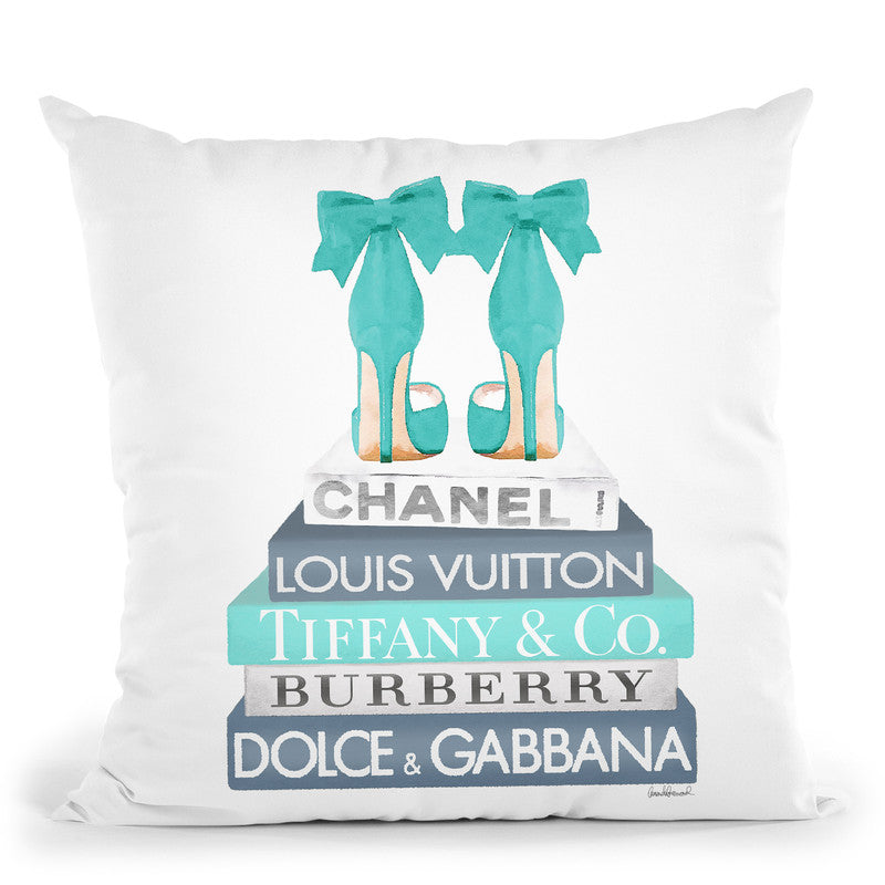 Blue And Teal Fashion Books With Bow Shoes Throw Pillow By Amanda Greenwood