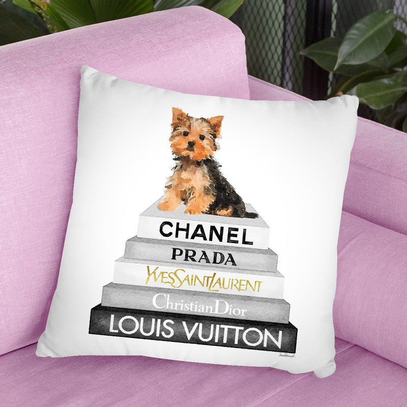 Grey Fashion Books With Yorkie Throw Pillow By Amanda Greenwood