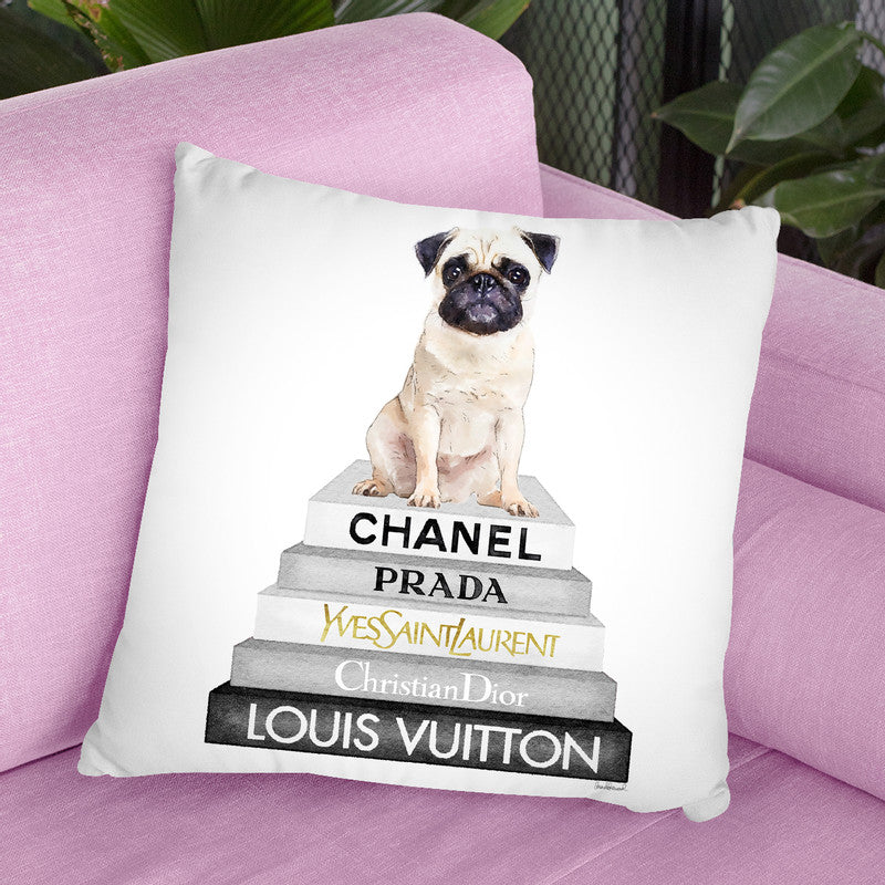 Grey Fashion Books With Cream Pug Throw Pillow By Amanda Greenwood