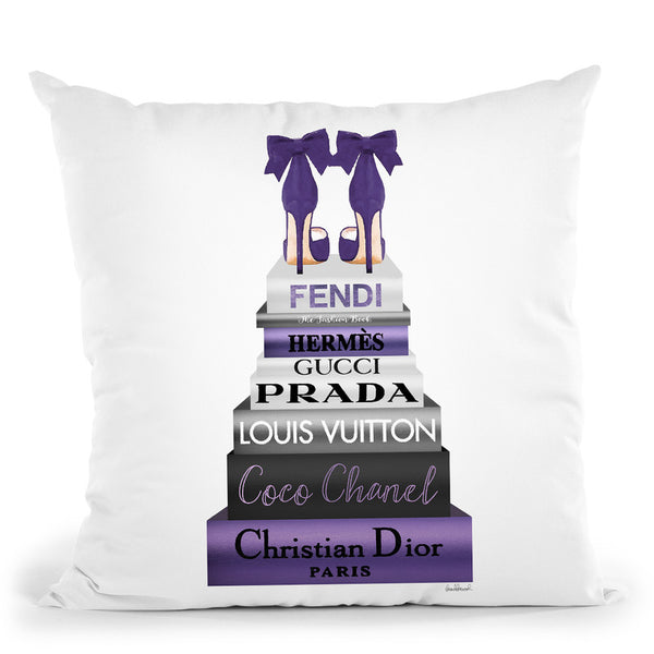 Tall Metallic Stack Purple With Purple Bow Shoes Throw Pillow By Amanda Greenwood