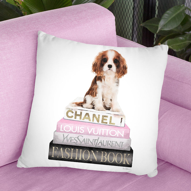 New Books Grey Blush With King Charles Puppy Throw Pillow By Amanda Greenwood
