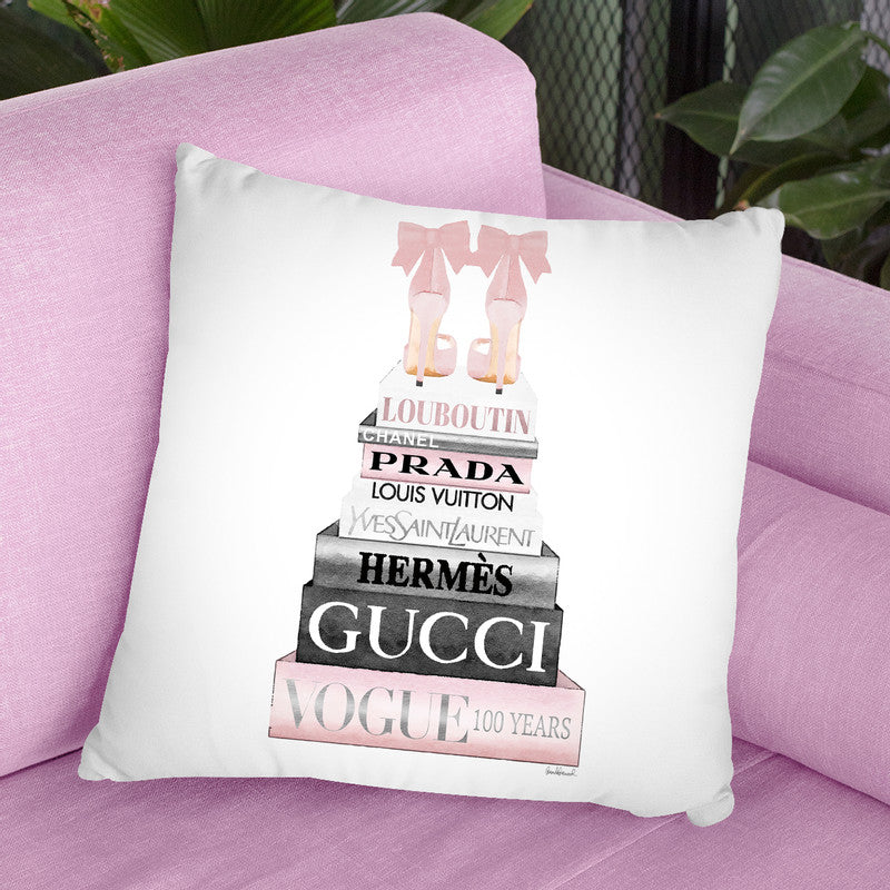 Tall Pink And Silver With Bow Shoes, Throw Pillow By Amanda Greenwood