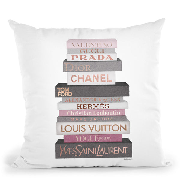 Tall Grey & Pink Fashion Books Throw Pillow By Amanda Greenwood