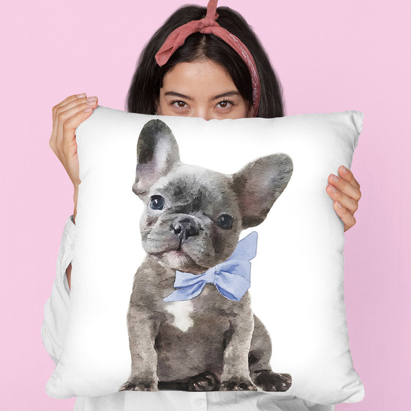 Grey Frenchie Puppy With Blue Bow Throw Pillow By Amanda Greenwood