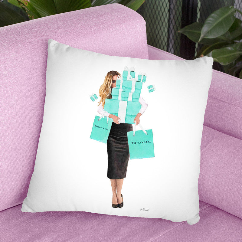 Girl Overloaded, Teal And Black Pencil Throw Pillow By Amanda Greenwood