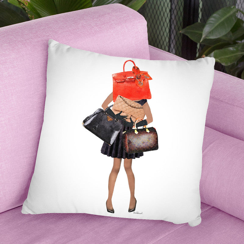 Girl Overloaded With Hand Bags V1 Throw Pillow By Amanda Greenwood