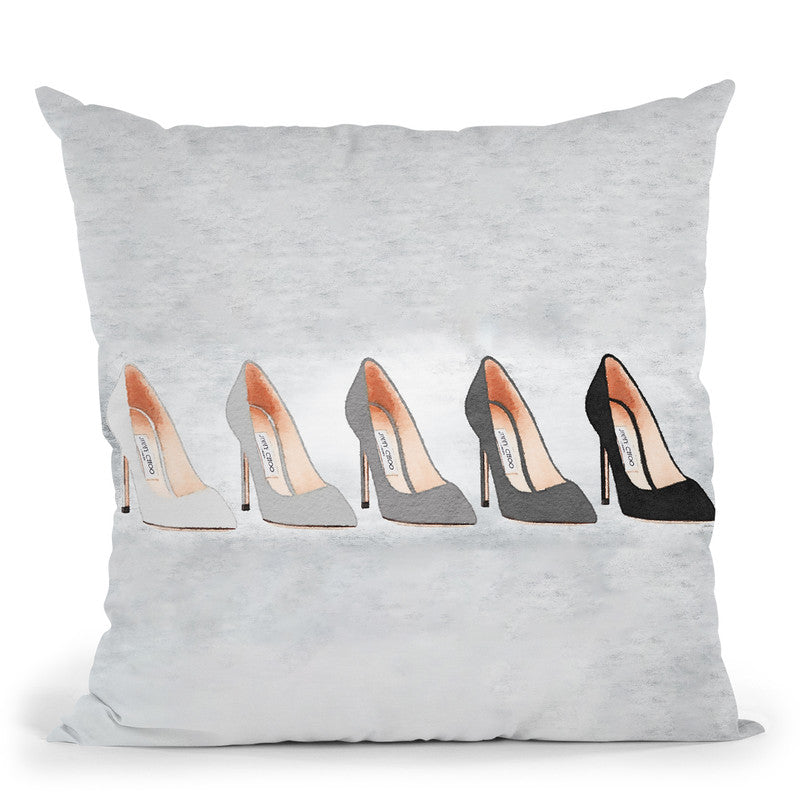 Landscape Grey Tone Shoes With Backgound Throw Pillow By Amanda Greenwood