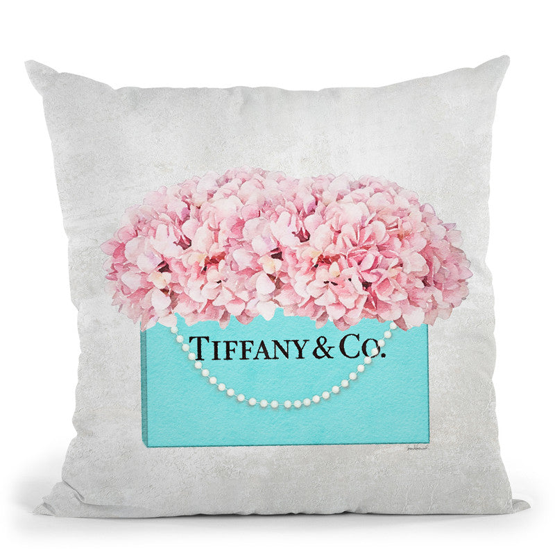 Teal Blue Shopper Pearl Handle Pink Hydrangeas Textured Throw Pillow By Amanda Greenwood