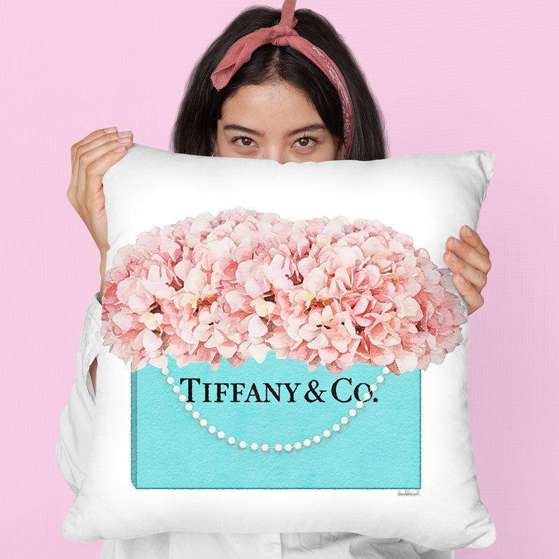 Teal Blue Shopper Pearl Handle Peach Hydrangeas Throw Pillow By Amanda Greenwood