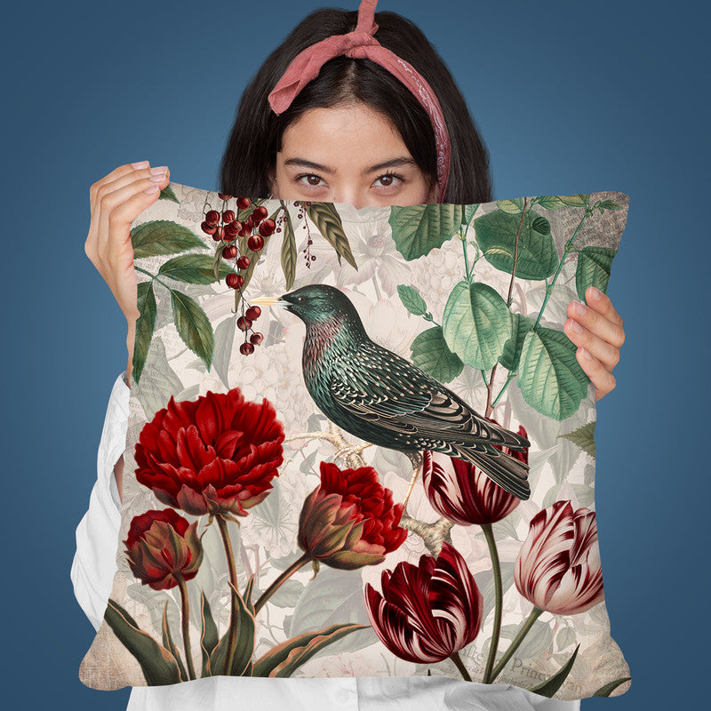 Bird With Tulips Throw Pillow By Andrea Haase
