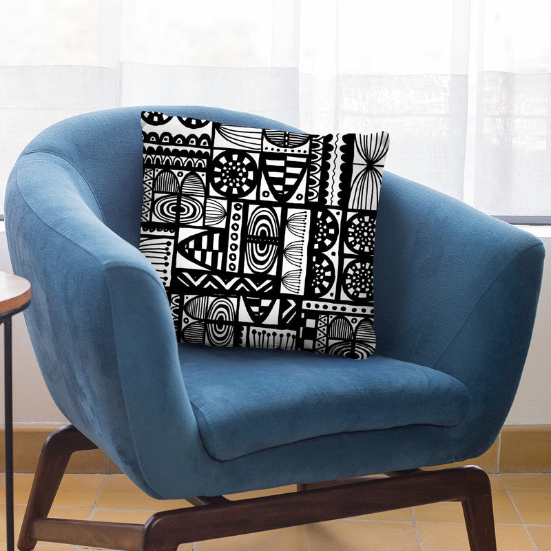 Black And White Ethnic Throw Pillow By Andrea Haase