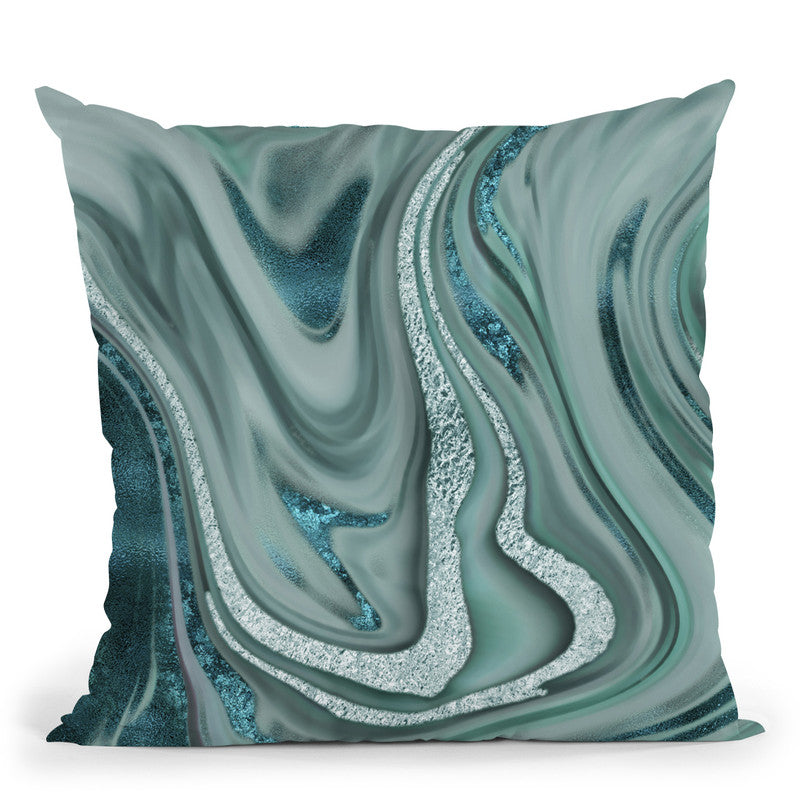 Blue Green Marble Throw Pillow By Andrea Haase