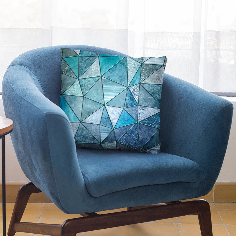 Blue Stained Glass Triangle Throw Pillow By Andrea Haase