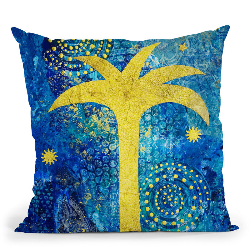 Blue Tropical Night Throw Pillow By Andrea Haase