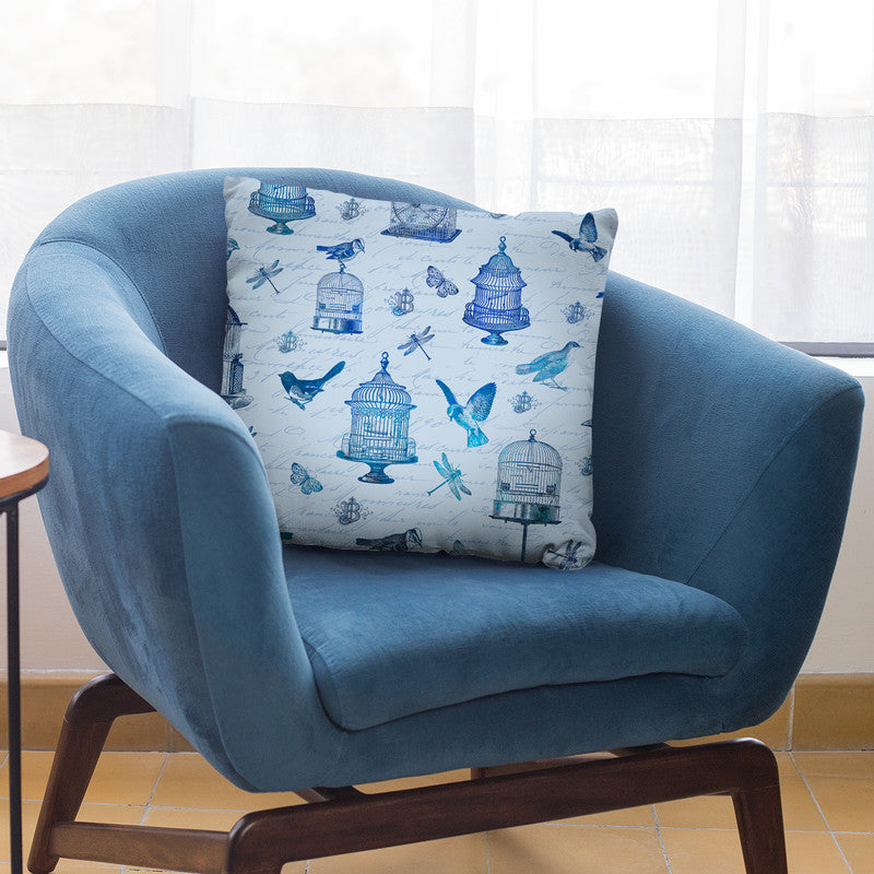 Blue Vintage Bird Cage I Throw Pillow By Andrea Haase