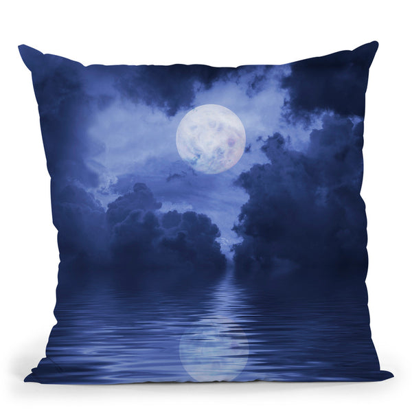 Blue Water Moon Throw Pillow By Andrea Haase