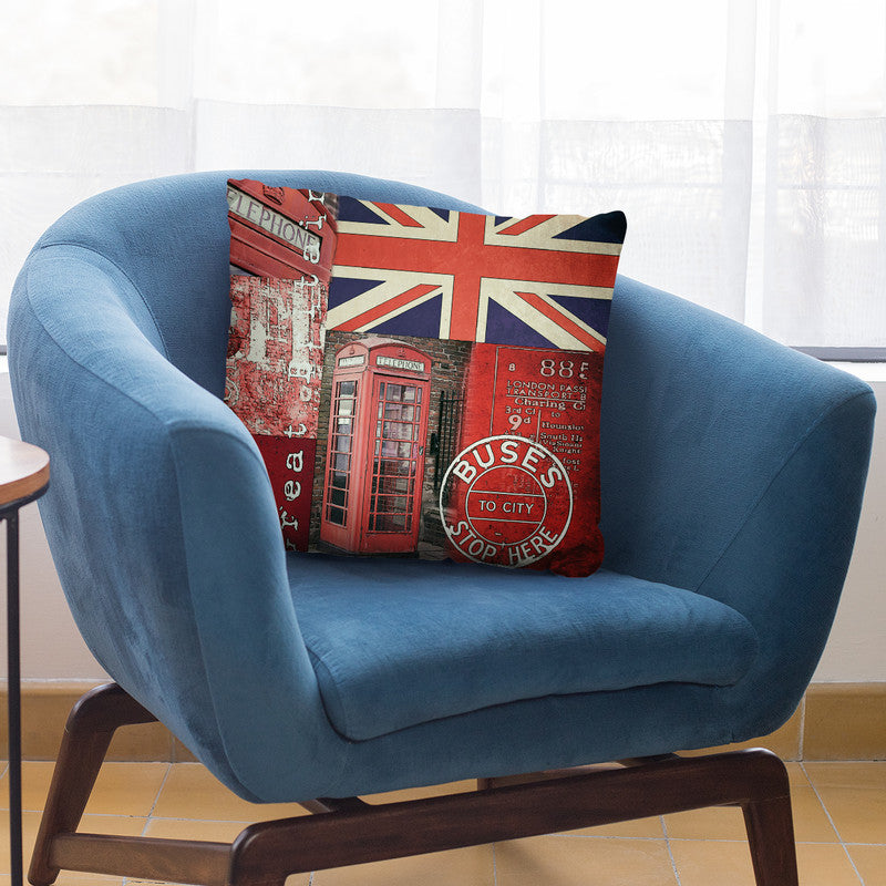 Britain Collage Throw Pillow By Andrea Haase