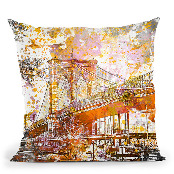 Brooklyn Bridge Yellow Throw Pillow By Andrea Haase