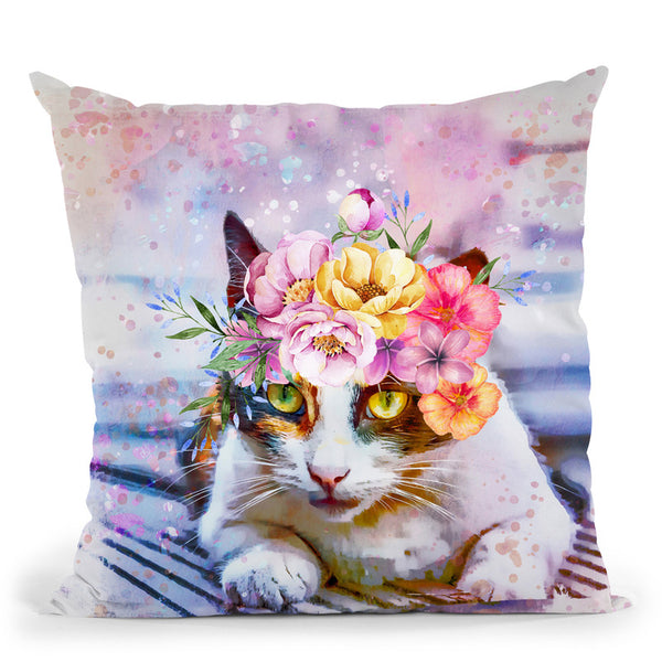 Cat Flower Headband Throw Pillow By Andrea Haase