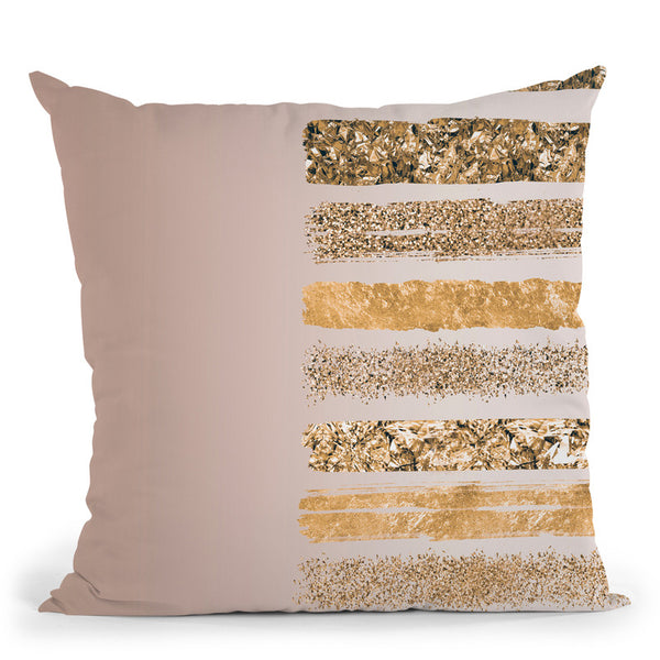 Coffee Gold Stripes Throw Pillow By Andrea Haase