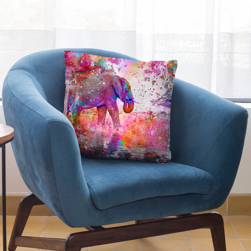 Color Bomb Elephant Throw Pillow By Andrea Haase