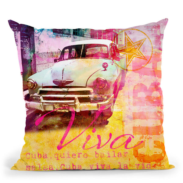 Cuban Car Throw Pillow By Andrea Haase