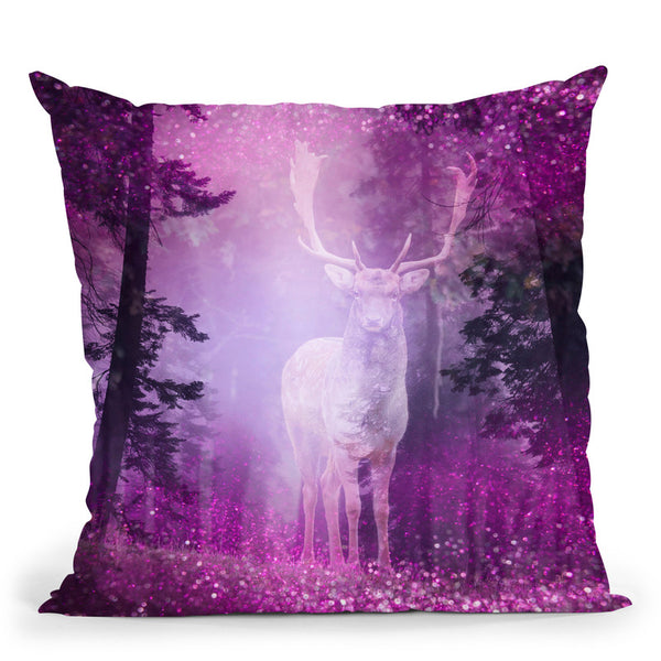 Deer Forest Mist Throw Pillow By Andrea Haase