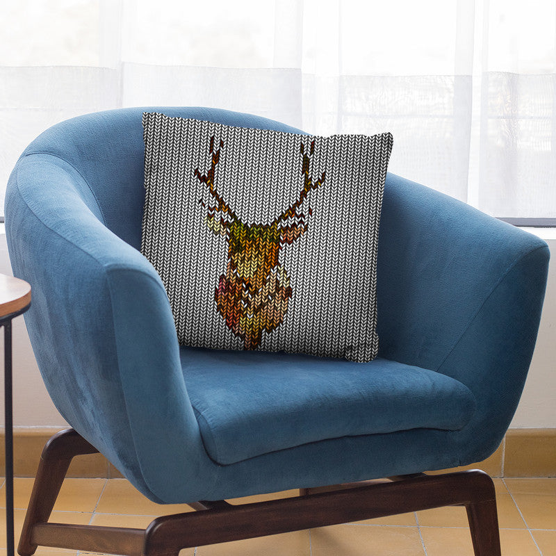 Deer Knit Throw Pillow By Andrea Haase